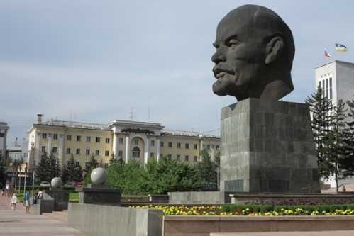 Lenin's giant head on Ulan-Ude's main square